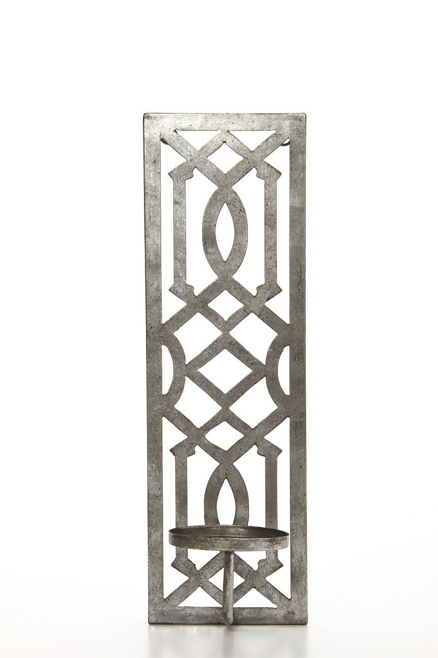 Hosley 17 high iron wall pillar candle sconce antique silver galvanized finish ideal