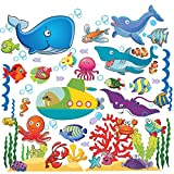 great kidsroom wall decals Fish Wall Stickers for Kids, Under The Sea Wall Decals for Toddlers' Bathroom, Bedroom, Window, Bathtub, Baby's Nursery, and Children's Classroom, Removable Peel and Stick Ocean Decor That Clings