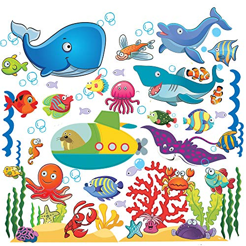- Fish Wall Stickers for Kids, Under The Sea Wall Decals for Toddlers' Bathroom, Bedroom, Window, Bathtub, Baby's Nursery, and Children's Classroom, Removable Peel and Stick Ocean Decor That Clings
