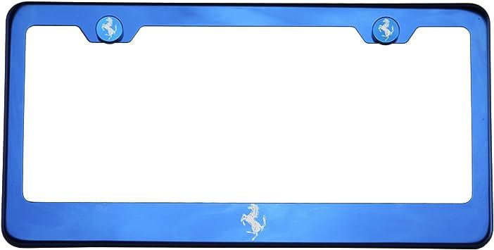 New Stainless Steel Chrome Ferrari Logo License Plate Frame W Bolt Caps Automotive License Plate Covers Frames