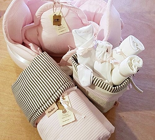 The perfect Baby girl new born shower gift - Crib clouds shaped bumper with a blanket and Fabric storage baskets filled with goodies! by Pockets Baby & kids