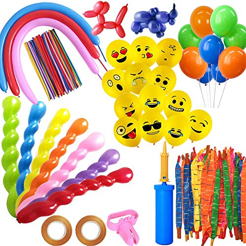 Rocket Balloons,260Q Balloons,Spiral Balloons,Yellow Emoji Balloons,Latex Balloons,Assorted-100 Count-With Hand-held Air Pump-Knotter