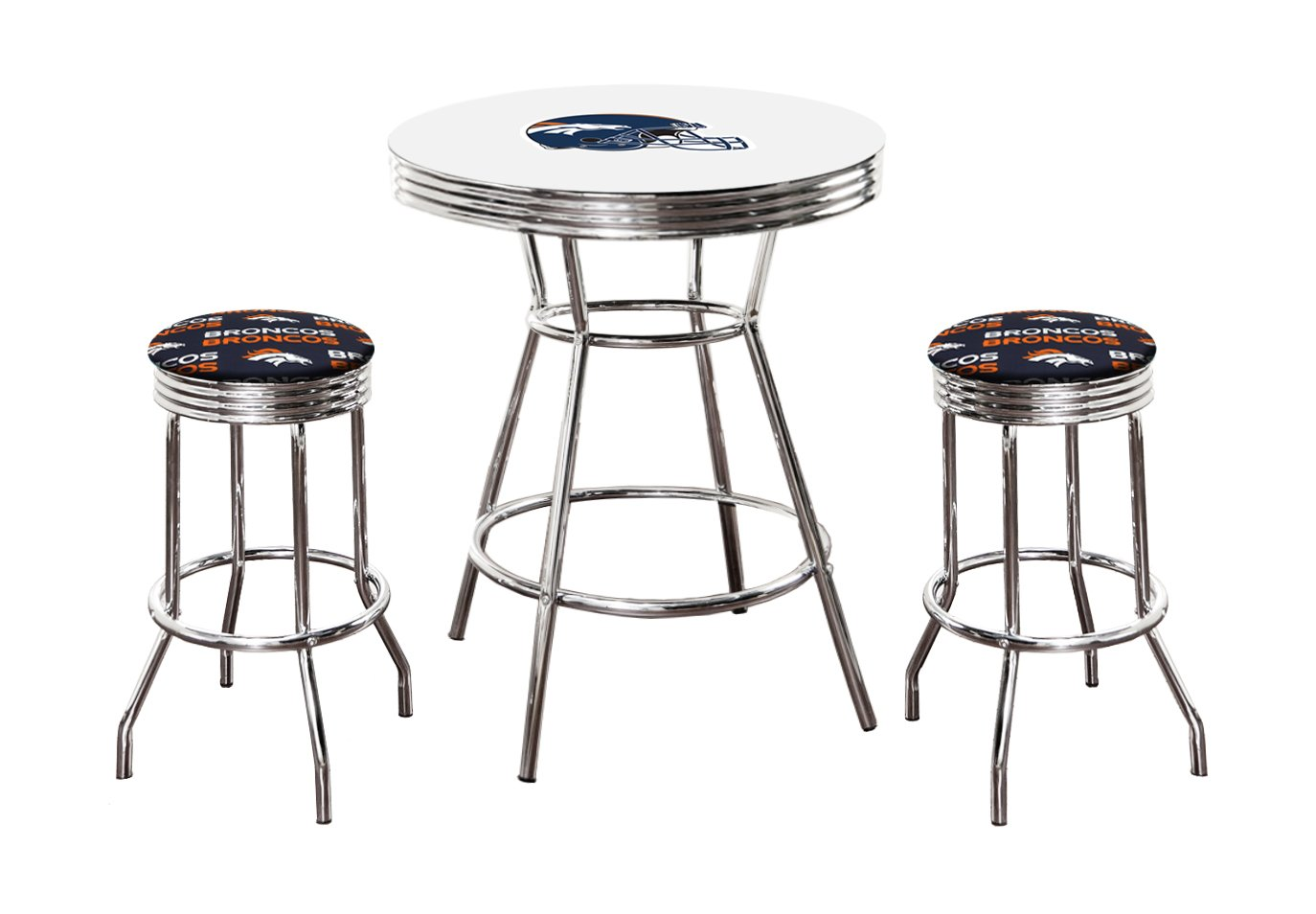 Remarkable Amazon Com 3 Piece White Pub Bar Table With Team Logo And 2 Andrewgaddart Wooden Chair Designs For Living Room Andrewgaddartcom