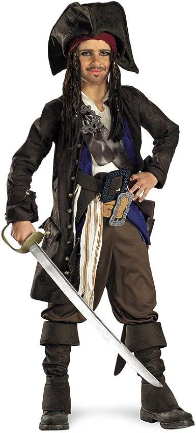 Disney Store Captain Jack Sparrow Pirate Costume Pirates of the Caribbean 3pc