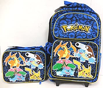 Amazon.com: Pokemon Pikachu Large Rolling Backpack and Lunchbox ...