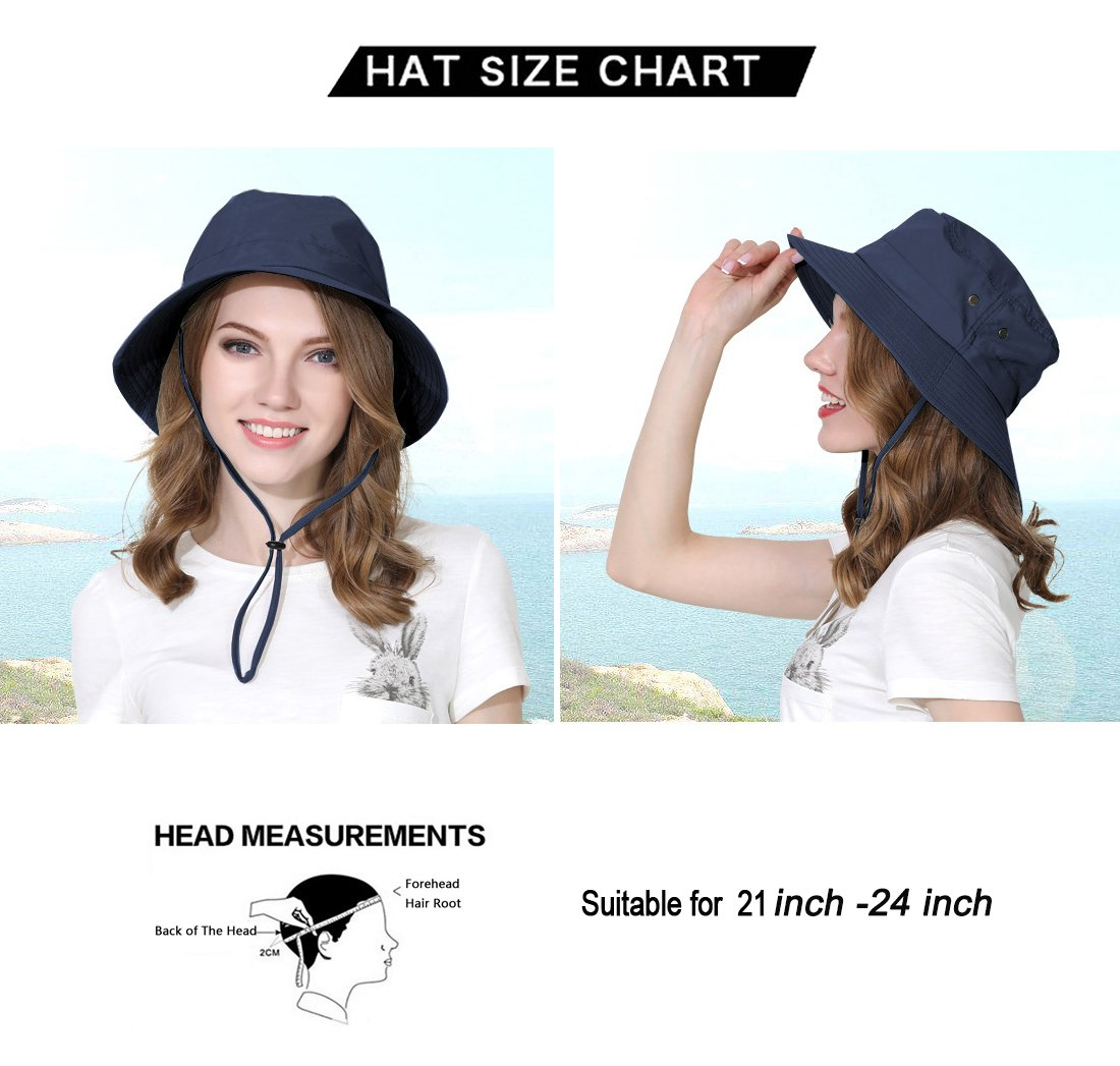 Jormatt Women&Mens Outdoor Wide Brim Sun Boonie Hat Summer UV Protection Fishing Hiking Gardening Neck Face Cover Flap Sun Cap with Chain Strap Foldable Breathable SPF UPF 50+,Navy Blue by Jormatt (Image #4)