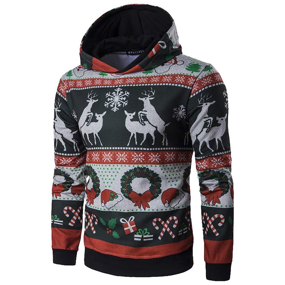Usstore  Men's Pullover Sweatshirt, Autumn Winter Christmas Slim Fit Hoodie Coat Outwear Blouse (L)
