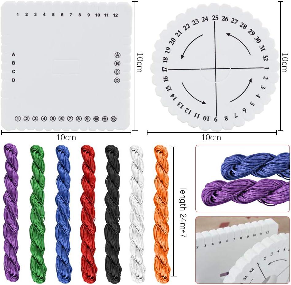 Cuerda Trenzada 1mm Disco Macrame Trenzado Cuerda de Poliester para Tejer para Abalorios para Hacer Pulseras y Joyas AFASOES 2 Pcs Disco Kumihimo Redondo y Cuadrado