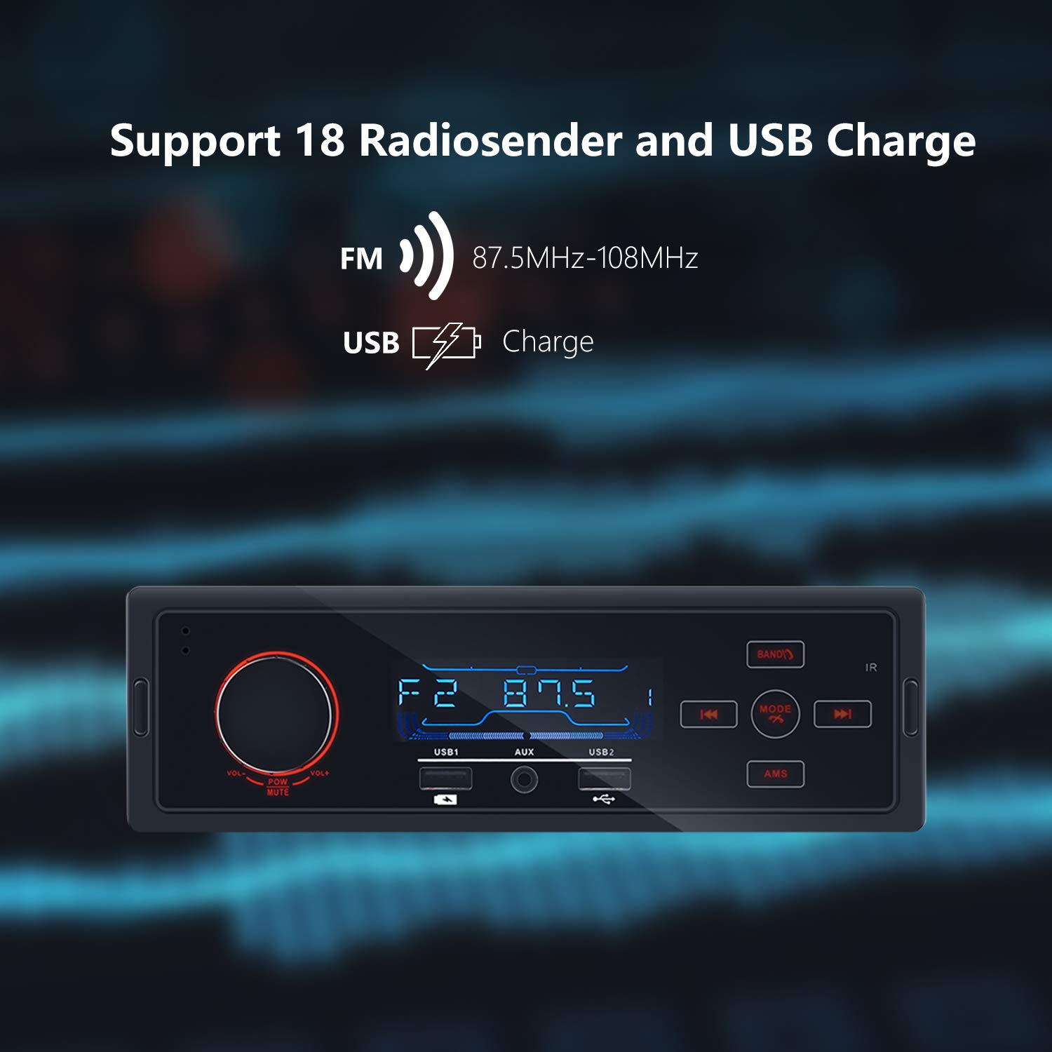 Car Stereo Blueooth 4.0 Auto Radio Receiver MP3 Player in-Dash Autoradio with Touch Screen Handsfree MP3// USB//FM//AUX Single Din Universal with Cellphone Charging Port /& Wireless Remote Control