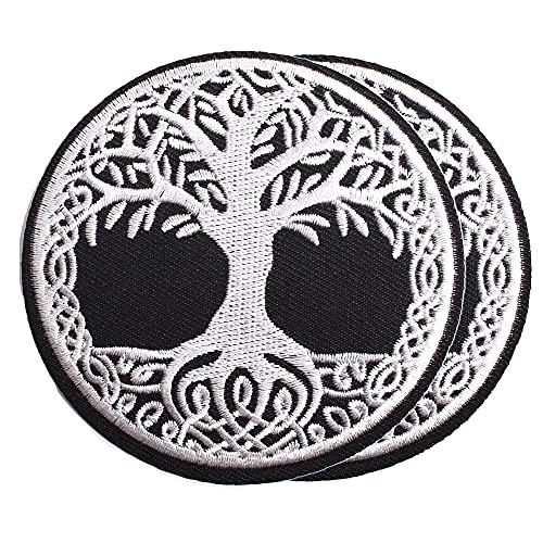 """Harsgs Aufnäher """"Yggdrasil – Der Lebensbaum"""", bestickt, zum Aufnähen oder Aufbügeln, ideal für Kleidung, Kleid, Hut, Jeans, 2 Stück"""
