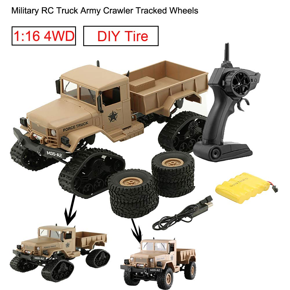 Gbell RC Military Truck Army Off-Road Car,1:16 6WD 2.4Ghz Radio Control RTR Crawler Buggy Hobby Car for Adults Boys 8+ Birthday Christmas New Year Gifts, Green Yellow (Yellow)
