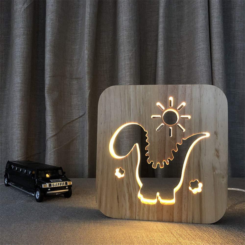 Knncch Dinosaurio Modelo Usb Luz De Noche Talla De Madera Madera Madera Lámpara De Mesa Luz De Regalo 103d9a