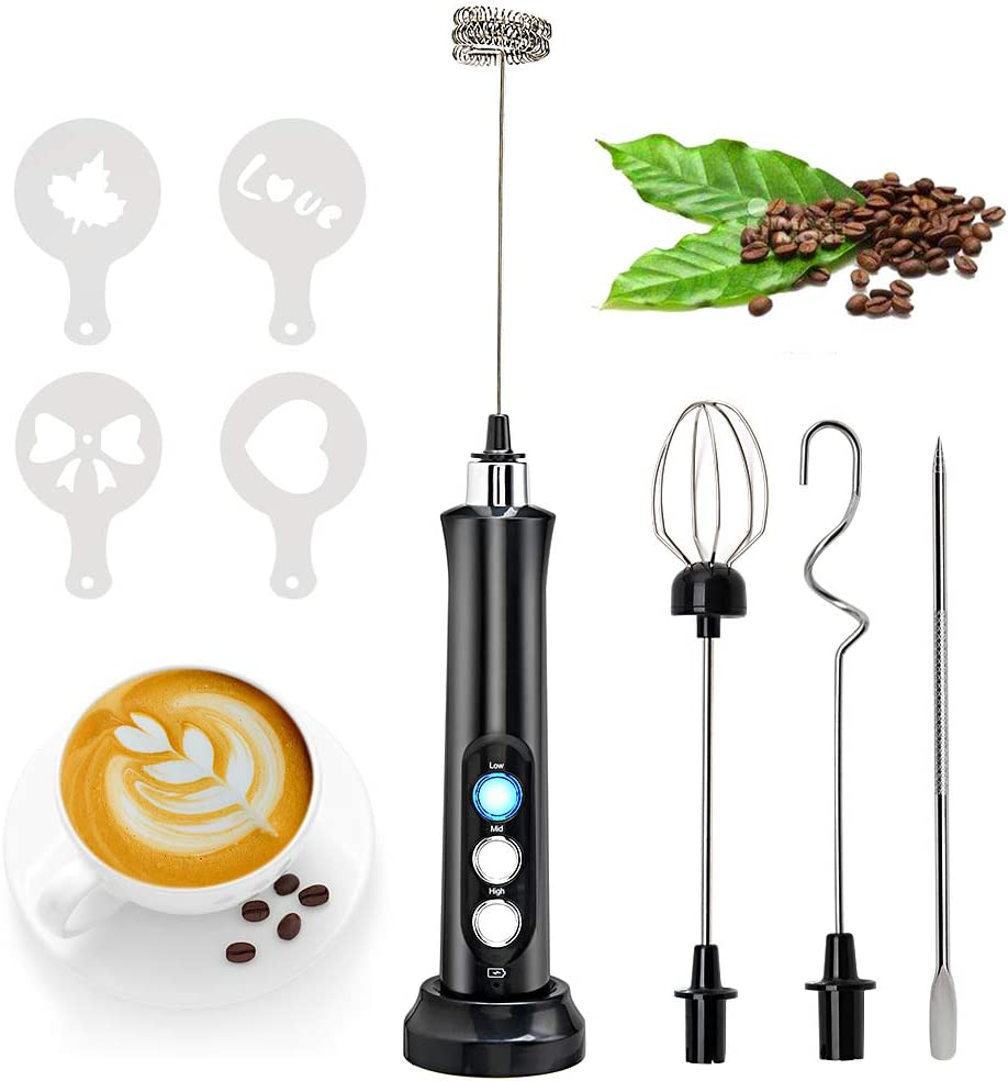 Milk Frother Handheld, Foam Maker for Lattes, USB Rechargeable Electric Foam Maker with 3 Whisks Drink Mixer for Bulletproof Coffee,Milk Powder, Mini Foamer for Cappuccino, Matcha, Hot Chocolate