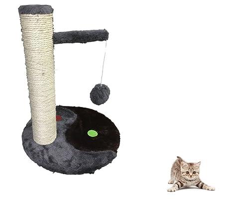 Ducomi® Lucifero – tiragraffi de sisal natural para gatos con juguete pelota – Altura:
