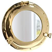 "15"" Brass Porthole Mirror: Maritime and Nautical Ship Decor"
