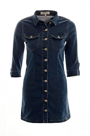 a8bbd1bcfc7 Women's Ladies Denim Shirt Dress Button Down Midi Mini Shift Dress Size 6 8  10 12