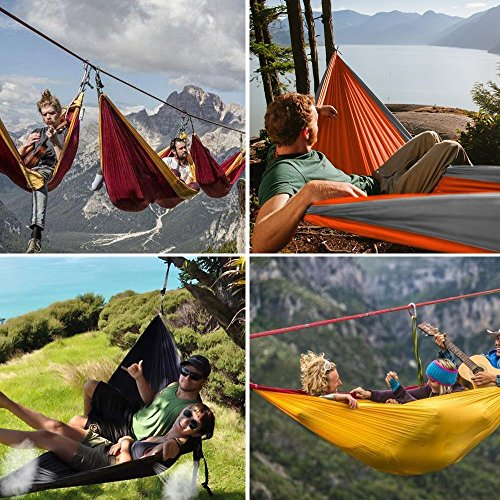 WoneNice Camping Hammock - Portable Lightweight Double Nylon Hammock, Best Parachute Hammock with 2 x Hanging Straps for Backpacking, Camping, Travel, Beach, Yard and Garden (Sky Blue/Gray)