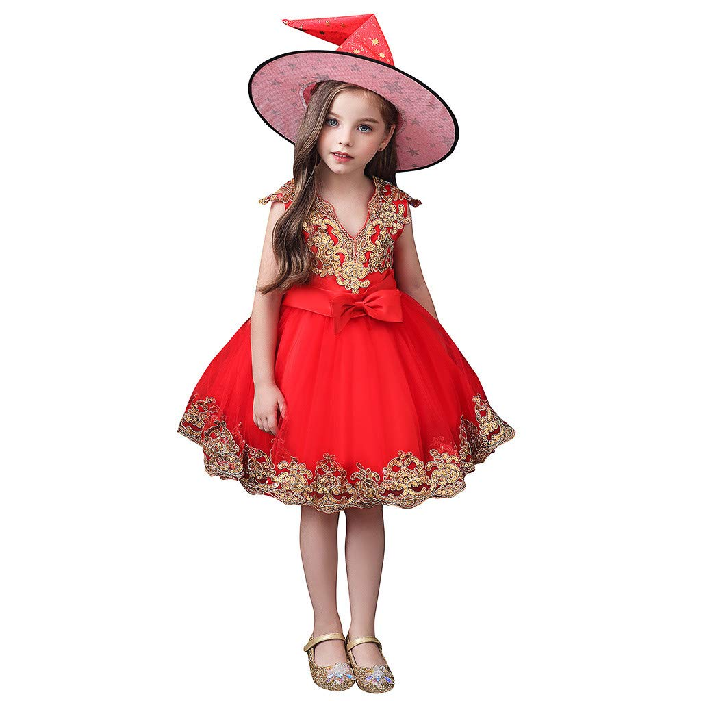 Sameno Toddler Kids Girls Embroidery Flower Cosplay Princess Dress Lace Tulle Tutu+Hat Halloween Costume Set Gift 0-11t Red by SamXmasBaby
