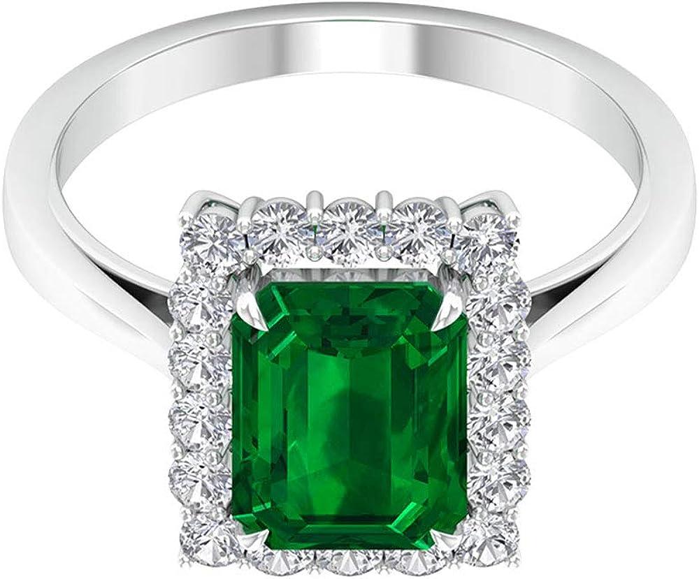 Anillo de boda de esmeralda certificado SGL de 2,25 ct, forma octogonal, anillo de dama de honor, 0,54 ct moissanita halo de oro, declaración de mujeres solitario, 14K Oro