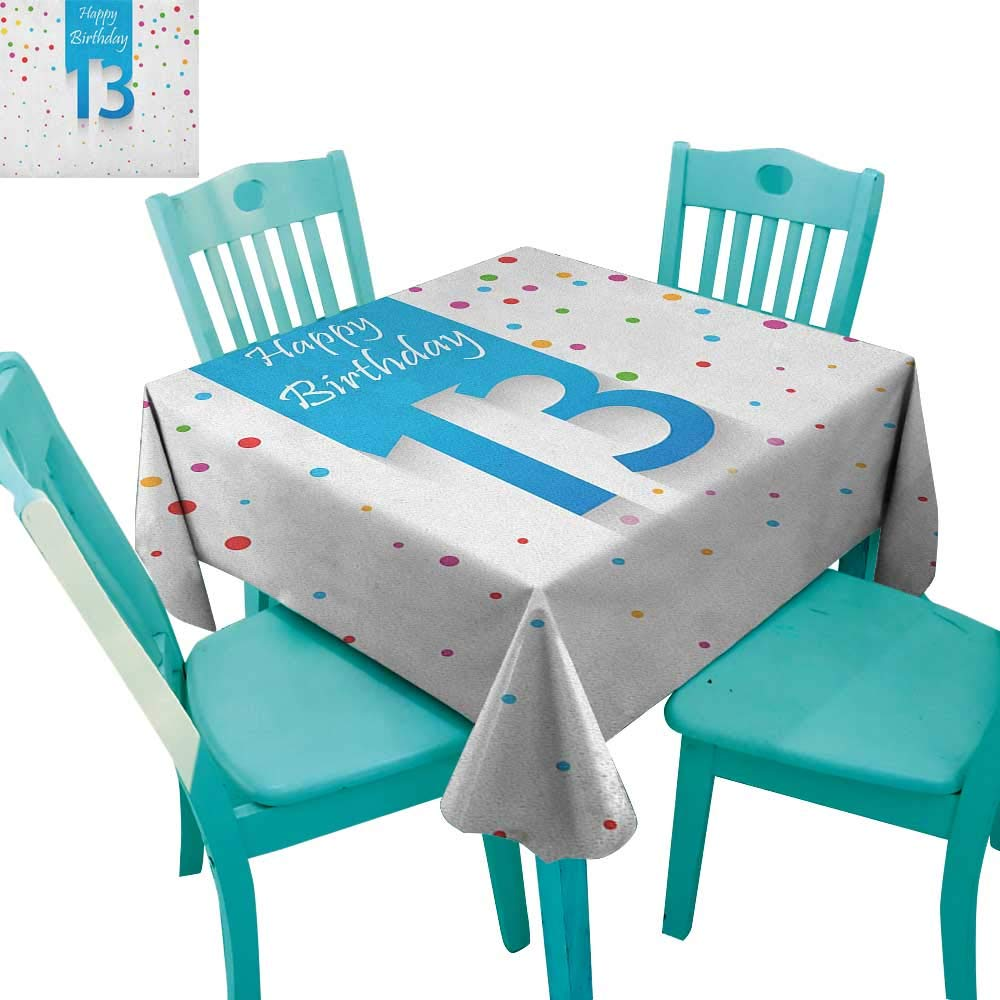 MartinDecor 13th Birthday Dinning Tabletop DecorColorful Polka Dots Thirteen Hand Writing Calligraphy Confetti Celebratory 70''x70'',Suitable for Kitchen, dustproof Desktop Decoration