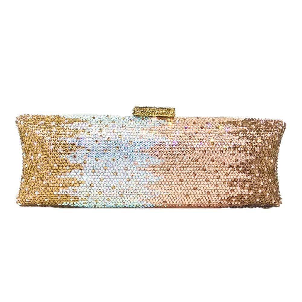 Dazzling Women Crystal Evening Purse Metal Hardcase Wedding Party Minaudiere Handbag Clutch Bag (Multi 1)