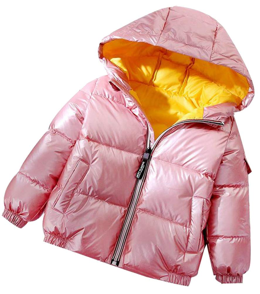 Cromoncent Boy Padded Hoody Metallic Sport Zip Pocket Down Jacket Parka Coat Pink 9T by Cromoncent (Image #2)