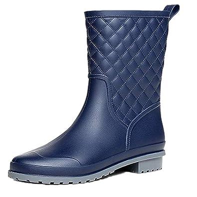 NEOKER Bottes Pluie Femme Caoutchouc Bottines Wellington Boots Jardin Bleu  36