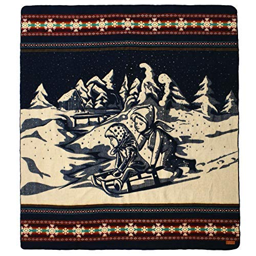 Kids Sledding Ecuadane Large Winter Woven Blanket, Handmade in Ecuador by Local Artisans, Size 82  x 93  - colorado Ski bluee Pattern