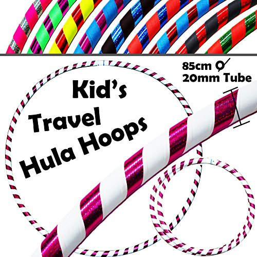 KIDs HULA HOOPS - Quality Weighted Children's Hula Hoops! Great For Exercise, Dance, Fitness & FUN! NO Instructions needed! Same Day Dispatch! (UV White / Purple Glitter)