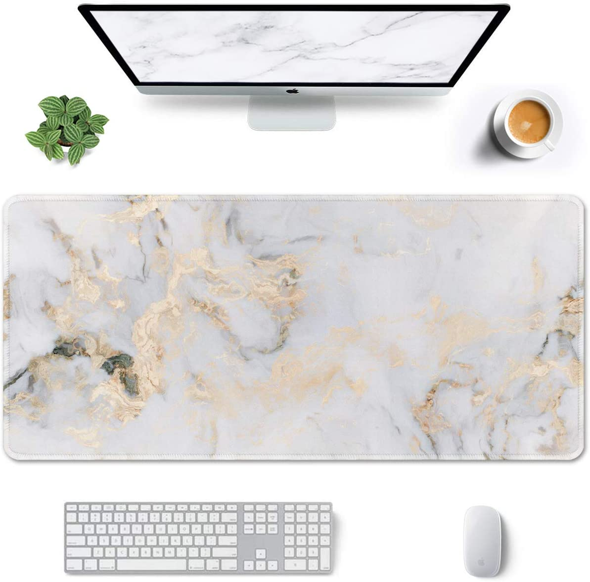 """Auhoahsil Large Mouse Pad, Full Desk XXL Extended Gaming Mouse Pad 35"""" X 15"""", Waterproof Desk Mat with Stitched Edge, Non-Slip Laptop Computer Keyboard Mousepad for Office & Home, White Marble Design"""