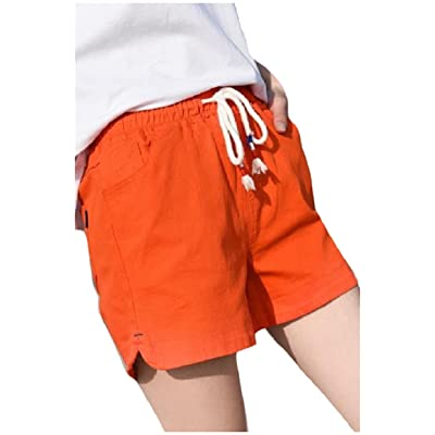 Abetteric Women's Workout Wide Legs Linen Over Sized Elastic Waist Chic Soft Beach Baggy Strappy Shorts