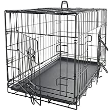 OxGord 61cm Folding Double-Door Metal Pet Crate with Divider
