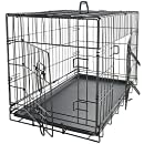 "OxGord 24"" Medium Dog Crate, Double-Doors Folding Metal w/ Divider & Tray   24"" x 16"" x 20""   2016 Newly Designed Model"