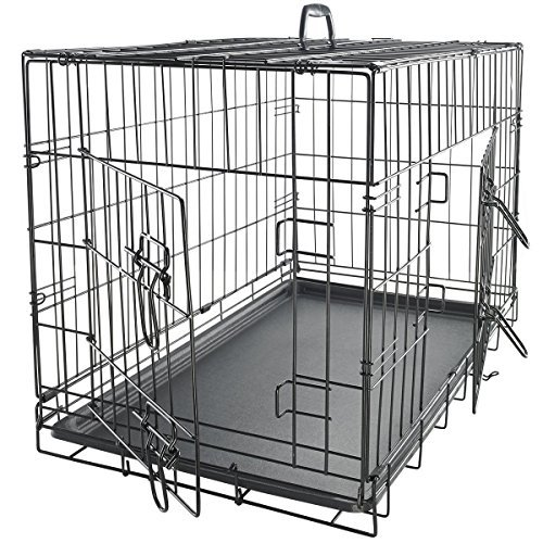 "OxGord 24"" Medium Dog Crate, Double-Doors Folding Metal w/ Divider & Tray   24"" x 17"" x 19""   2016 Newly Designed Model"