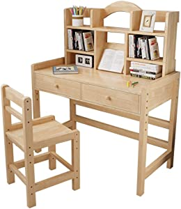 Height Adjustable Wooden Student Desk and Chair Set with Drawers & Bookshelves, Home Office Desk Computer Desk Laptop Desk, Child Student Writing Table Kids Bedroom Study Desk Table and Chair Set