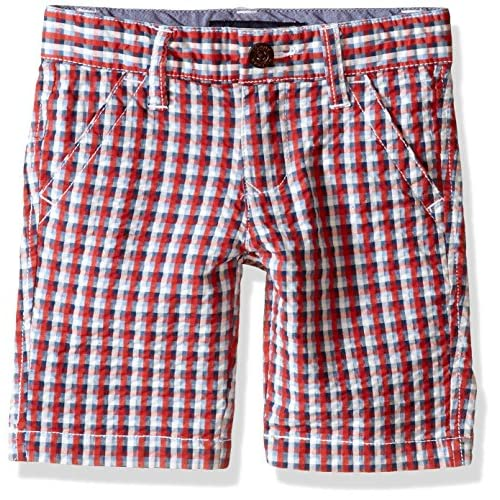 cheap Tommy Hilfiger Boys' Mini Red, White, Blue Gingham Flat-Front Short supplies