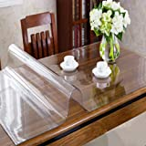 OstepDecor Custom 2.0mm Thick Crystal Clear Table Cover Protector for 8 Foot Table - 96 x 54 Inch Large Plastic Table Pad Rectangular PVC Tablecloth Kitchen Wood Furniture Protective Cover