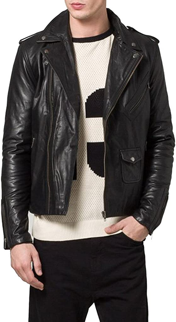 New Men Genuine Sheep Leather Black Slim FIT Biker Jacket KL167
