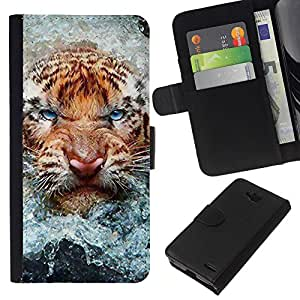 Leather Etui en cuir || LG OPTIMUS L90 || Angry Tiger Cat agua Naturaleza Animal @XPTECH