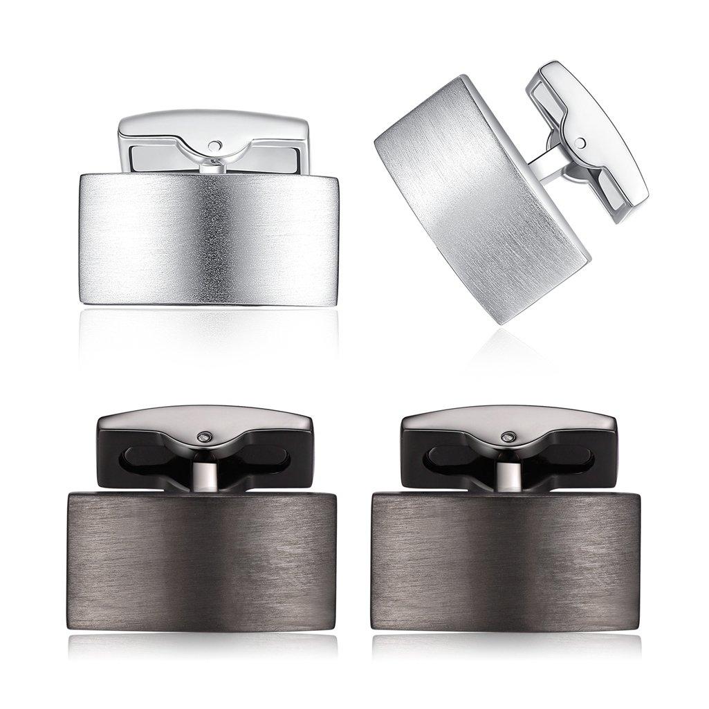HONEY BEAR Boutons de Manchette Pinces /à Cravate Set Acier Inoxydable pour Le Cadeau Affaires de Mariage de Chemise Hommes Argent Noir