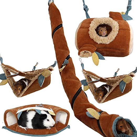 Yu-Xiang 5 Pcs Forest Sugar Glider Hanging Cage Accessories Set Leaf Wood Design Small Animal Hammock Channel Ropeway Nest Tree Stump for Hamster Guinea Pig Rat Gerbil Squirrel Birds Parrot