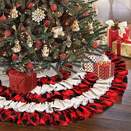 AerWo Christmas Tree Skirt 48 inches, Red Black Buffalo Check and Burlap Christmas Tree Skirt for Holiday Christmas Decorations, 6 Layers Ruffled Xmas Tree Skirt (Red Christmas Skirt Tree Burlap)