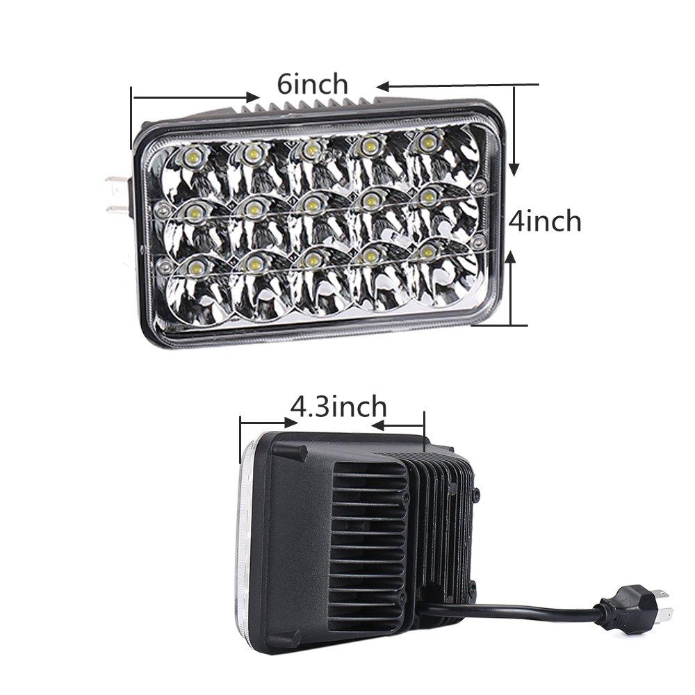 Faros LED rectangulares de 6 x 7 pulgadas para camionetas Wrangler YJ Cherokee XJ Pickup 4X4 Offroad H6054 H5054 H6054LL 69822 6052 6053