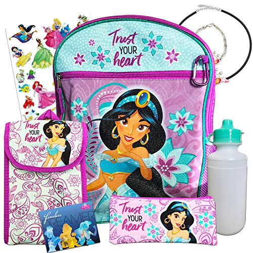 """Disney Princess Jasmine Backpack 8 Pc Set with 16"""" Backpack, Lunch Bag, and More"""