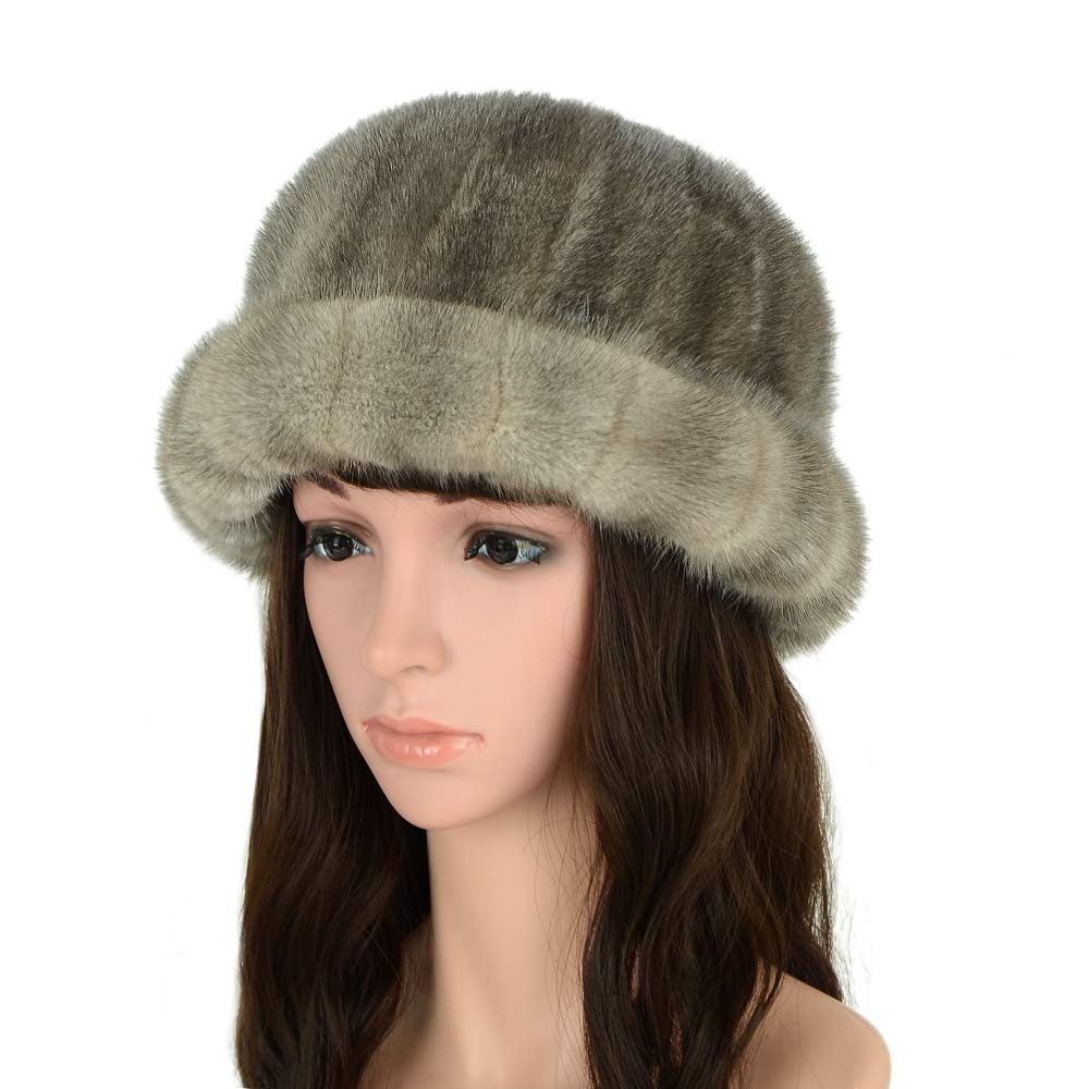 MH Bailment Women's Winter Fur Bucket Hat with Real Mink Fur Thick Stripes Hats (M, Gray)