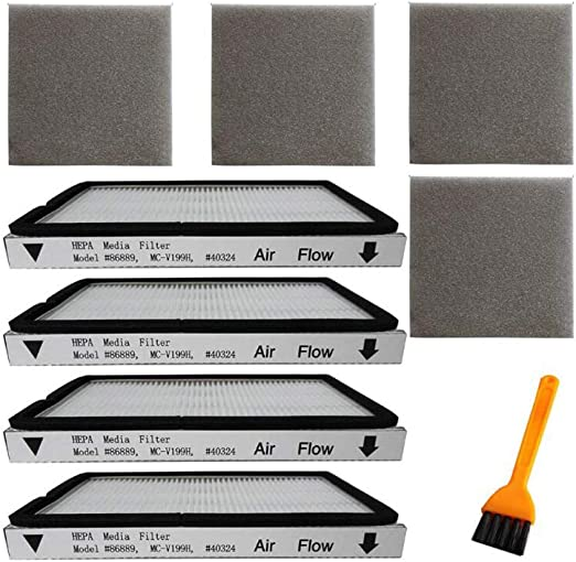compares to 86889 and Also Compatible with Panasonic Fette Filter compares to MC-V199H Exhaust HEPA Vacuum Filter Compatible with EF-1 Sears Kenmore, Pack of 4