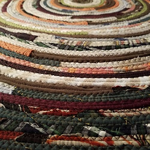 2' Colorful Round Rag Rug, Made to Order YOU Choose Colors! 2 foot Diameter, Bohemian Upcycled Handmade 2' Colorful Round Rag Rug