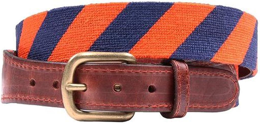 Repp Stripe Needlepoint Belt in Orange and Dark Navy by Smathers /& Branson