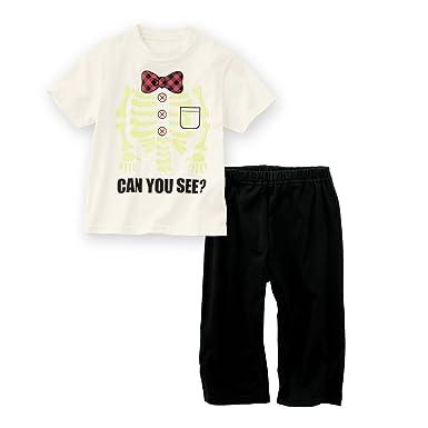 3aab6e042c4fd [nissen(ニッセン)] キッズ 男の子 パジャマ 半袖 光る 蓄光 プリント 上下セット オフ