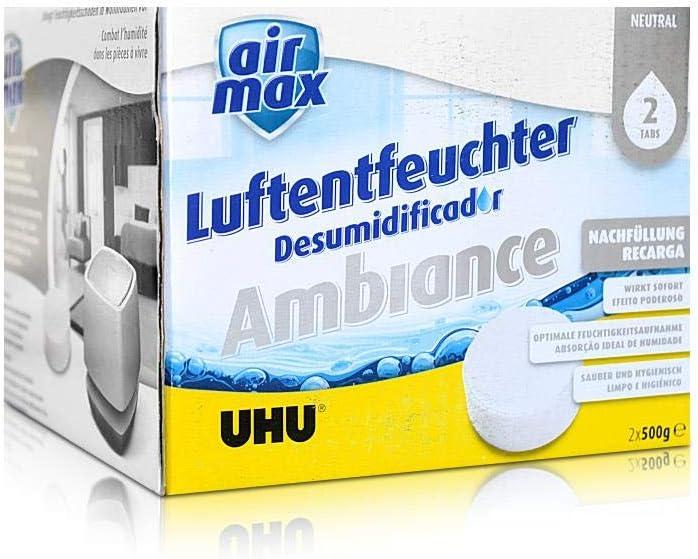 Bek/ämpft Feuchtigkeit und Schimmel in Wohnr/äumen von bis zu 10 m/³ UHU Luftentfeuchter Ambiance wei/ß 100 g